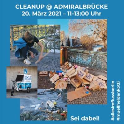 Werbung für das Cleanup an der Admiralbrücke